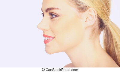 Side view of a beautiful blond