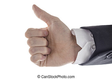 Side view of a businessman showing an Ok sign