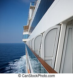 Side view of a  cruise ship.