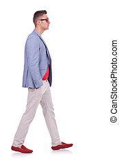 fashion man walking forward