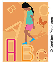 Side view of a girl walking on alphabets