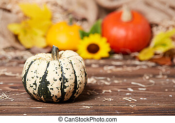 Side view of a green pumpkin on a wooden table