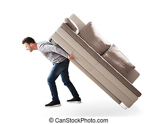 Side View Of A Man Lifting Sofa