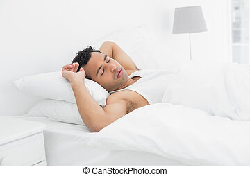 Side view of a man sleeping in bed