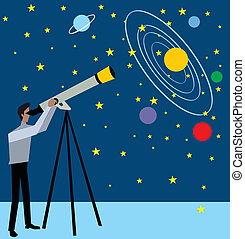 Side view of a man standing and looking stars through telescope