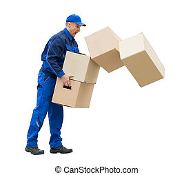 Mature Man With Falling Stack Of Cardboard Boxes