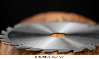 Side view of a metal blade of a saw