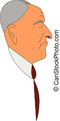 Side view of a old man vector illustration on white background