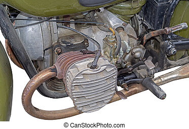 Side view of a old motorcycle engine on white