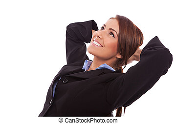 side view of a relaxed business woman