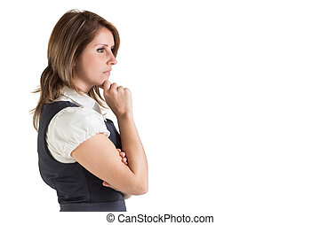Side view of a thoughtful young businesswoman