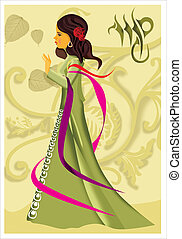 Side view of a virgo woman with zodiac sign