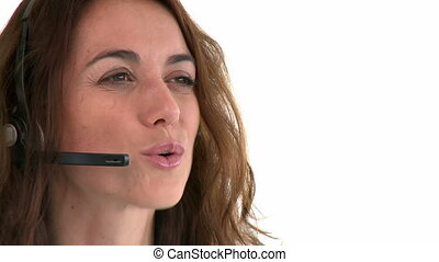 Side view of a woman with earpiece