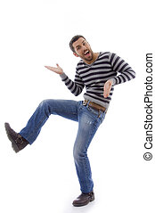 side view of amused man dancing against white background