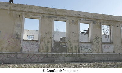 Side view of an abandoned building