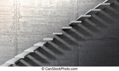 Side view of an endless staircase