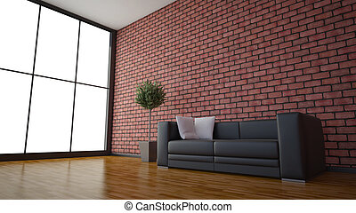 Side view of an interior rendering of a living room with textures and wireframe