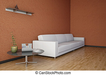 Side view of an interior rendering of a living room with texture