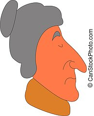 Side view of an old lady with yellow scarf vector illustration on white background