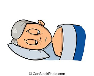 Side view of an old man lying in bed. Flat vector illustration. Isolated on white background.