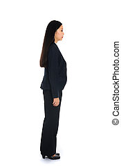 Side view of Asian business woman thinking, full length portrait isolated on white background.