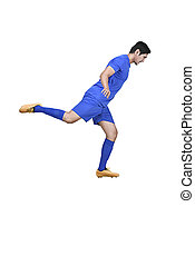 Side view of asian football player kicking the ball