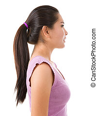 Side view of Asian lady