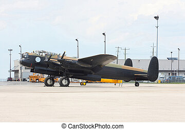 Side view of Avro Lancaster bomber.