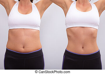 Before And After Concept Showing Fat To Slim Woman