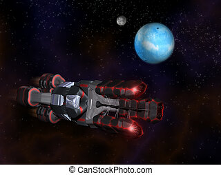 Side view of Black and Red Space Craft in Action in Space