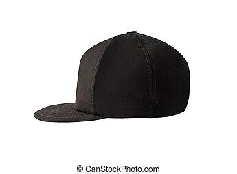 Side view of black snapback cap