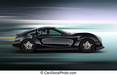 Side view of black sports car