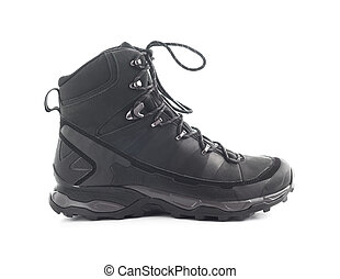 Side view of black trekking shoe