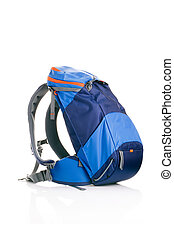 Side view of blue backpack isolated