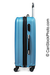 Side view of blue plastic suitcase