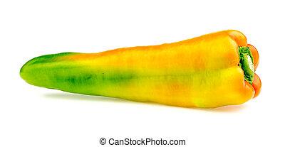 Side view of bright ripe bullhorn chilli