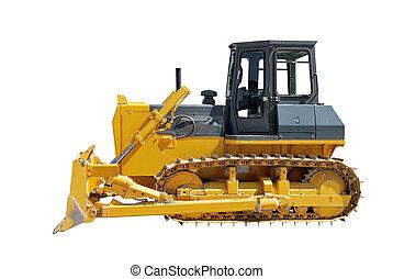 Side view of bulldozer on white