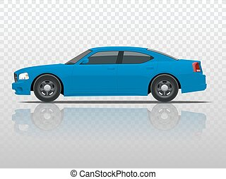 Side view of business sedan vehicle template vector isolated on transparent. View side. Change the color in one click. All elements in groups