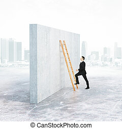 Growth concept - Side view of businessman climbing ladder ...