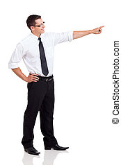 side view of businessman pointing - side view of happy...