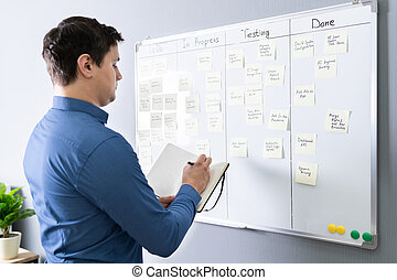 Businessman Writing On Sticky Notes