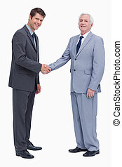 Side view of businessmen shaking hands against a white ...