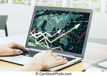 businesswoman hands using laptop computer with forex chart