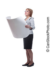 Side view of businesswoman holding a rolled-up drawings
