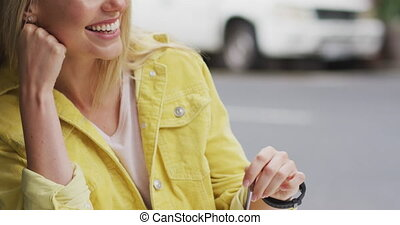 Side view of Caucasian woman enjoying at terrace coffee - ...