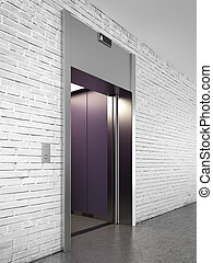 Side view of elevator with opened doors