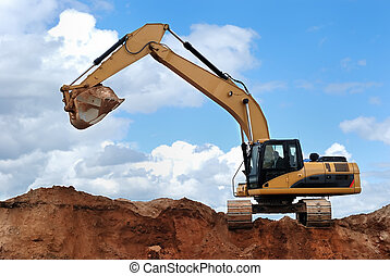 excavator with raised bucket - side view of excavator with...