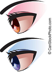 Side View of Eye - Brown and blue eye with make up viewed...