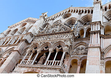 side view of facade Ferrara Cathedral,