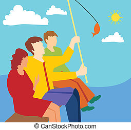 Side view of family fishing together